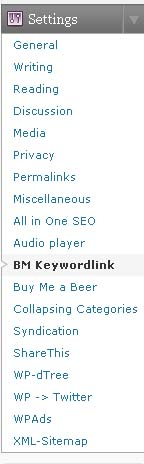 Keywords Links Settings
